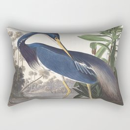 Louisiana Heron Bird Blue Yellow Painting Rectangular Pillow