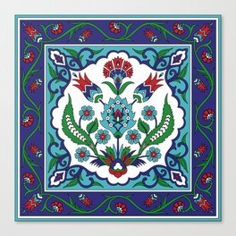 Turkish Tile Pattern – Vintage iznik ceramic with tulips Canvas Print