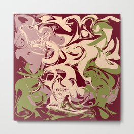 Liquid pattern on burgundy Metal Print