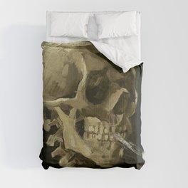 SKULL OF A SKELETON WITH BURNING CIGARETTE - VINCENT VAN GOGH Comforters