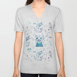 Cute teal chinese koi fish panda bird floral typography Unisex V-Neck