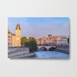 Saint-Michel bridge on Seine river at sunset - Paris, France Metal Print