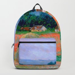 Claude Monet Impressionist Landscape Oil Painting Haystack at Giverny Backpack