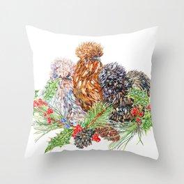 Three F̶r̶e̶n̶c̶h̶ Silkie Hens Throw Pillow