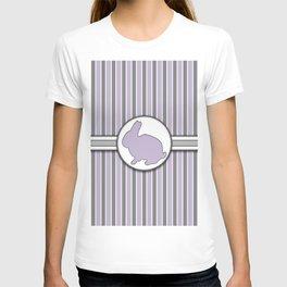 Rabbit on Purple Stripes Pattern Design T-shirt