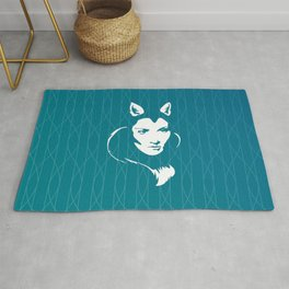 Faces - foxy lady on a teal wavey background Rug