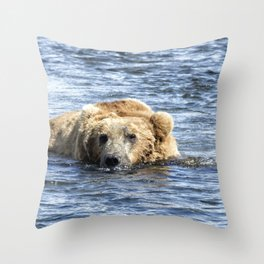 Brown Bear Cooling Off Throw Pillow