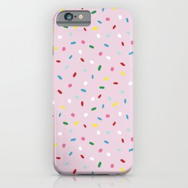 Sweet glazed, with colorful sprinkles on pink melting icing iPhone Case