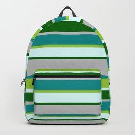 Eye-catching Grey, Dark Cyan, Green, Light Cyan & Dark Green Colored Lined Pattern Backpack
