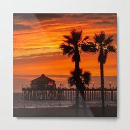 Huntington Beach Pier Sunset 10-24-20  Metal Print