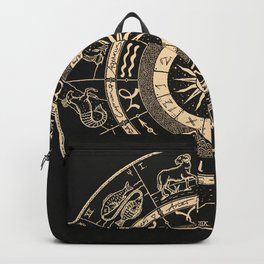 Vintage Zodiac & Astrology Chart | Charcoal & Gold Backpack