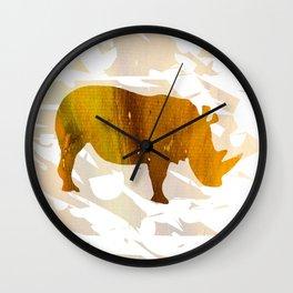 Colorful Art Rhino Abstract Yellow Wall Clock
