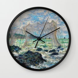 Claude Monet - Fishing nets at Pourville Wall Clock