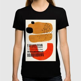 Mid Century Modern Abstract Minimalist Retro Vintage Style Fun Playful Ochre Yellow Ochre Orange  T-Shirt
