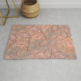 Contemporary Rust & Coral Leaves with Coral Background Rug