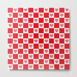 Checkered Red Hearts Metal Print