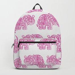 Pink Indian Woodblock Elephants Backpack
