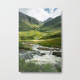Scottish Highlands Mountain River Metal Print