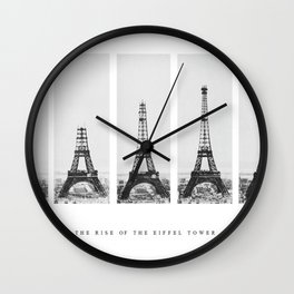 1888-1889 The Rise of the Eiffel Tower Construction Sequence black and white photography Wall Clock