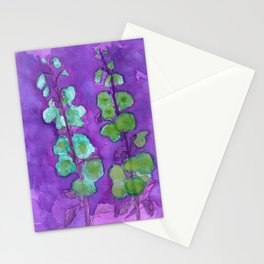 Hollyhock Foxglove Watercolor Indigo Turquoise Moss Stationery Cards