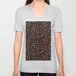 Mosaic Pixel Black Red Yellow Pattern Unisex V-Neck