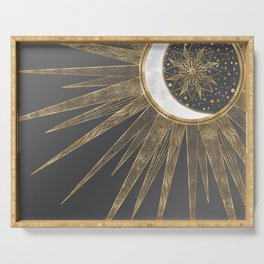 Elegant Gold Doodles Sun Moon Mandala Design Serving Tray