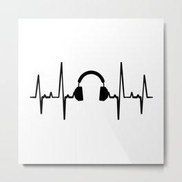 Headset Heartbeat T Shirt Music TShirt Headset Shirt Heart Beat Gift Idea Metal Print