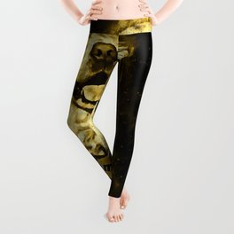 golden retriever dog football splatter watercolor yellow gold sepia Leggings
