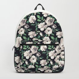 Old Fashioned White Roses with Hunter Green Leaves Backpack