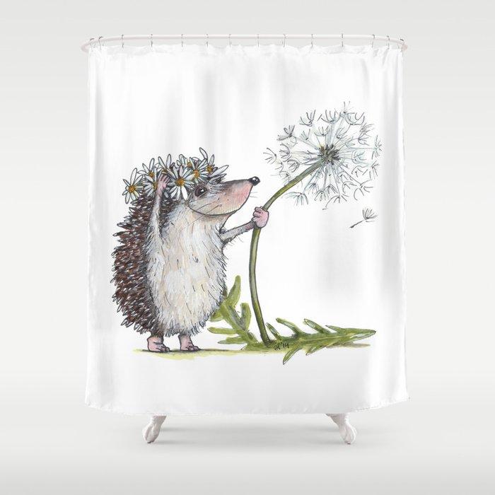 hedgehog dandelion shower curtain by littlewhitebunnies