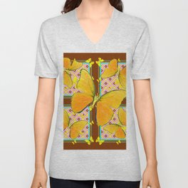 Yellow Butterflies Coffee Brown Pink & Blue Patterns Unisex V-Neck
