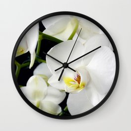 White Orchids Flowers Wall Clock