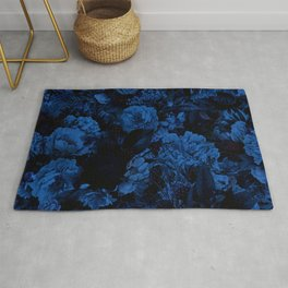 winter flowers seamless pattern 01 big dark blue Rug