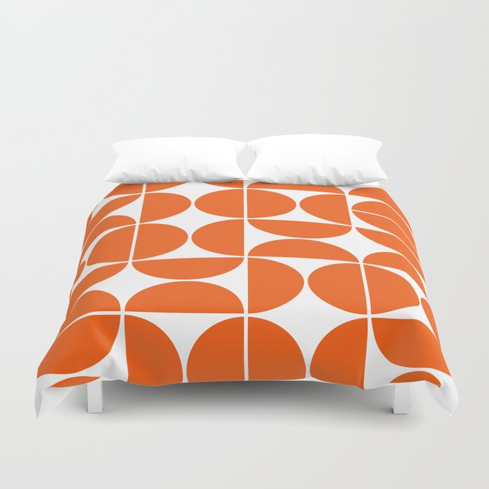 Mid Century Modern Geometric 04 Orange Duvet Cover by