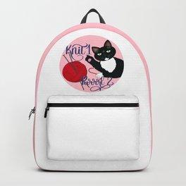 Knit 1 Purrrl 2 cat lover knitter knitting design Backpack