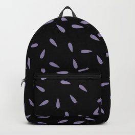 Light Purple Raindrops on Black Background Backpack