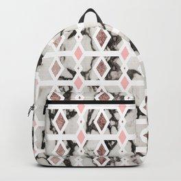 Modern Marble Rose Gold Blush Pink Geometric Backpack