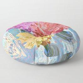 Trio of Peonies - Summer Pastels Floor Pillow