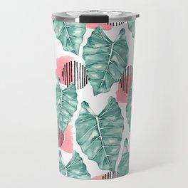 Watercolor tropical leaves abstract Travel Mug