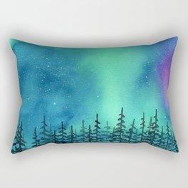 """Wilderness Lights"" Aurora Borealis watercolor landscape painting Rectangular Pillow"