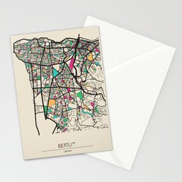 Colorful City Maps: Beirut, Lebanon Stationery Cards