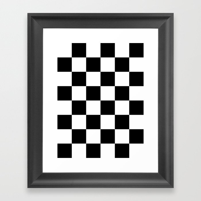 Large Checkered - White and Black Gerahmter Kunstdruck