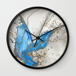 Blue splatter - grey marble and gold Wall Clock