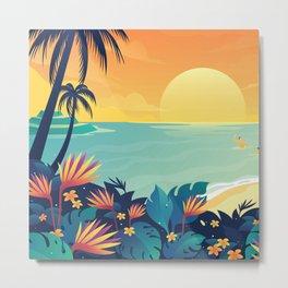 Sunset Beach Illustration Metal Print