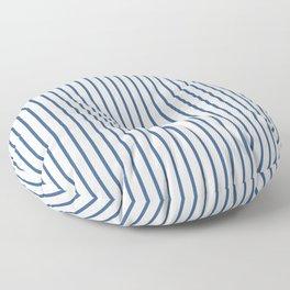 Iris Blue Pinstripe On White Floor Pillow