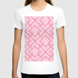 Bamboo Chinoiserie Lattice in Pink + Bubblegum Pink T-shirt