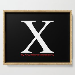 X - By Any Means Necessary Malcolm X Motif Serving Tray