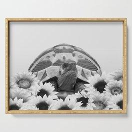 Tortoise Sunflower Blossoms - black & white Serving Tray