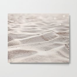 Sand Photography, Beach Photograph, Coastal Photo, Cream Beige Brown Neutral Metal Print