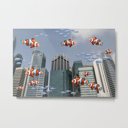 Singapur Skyline Clownfish - Futuristic Artwork Collage Metal Print